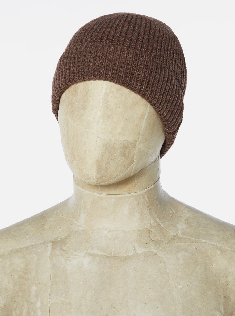 Universal Works Watch Cap in Chocolate Recycled Wool