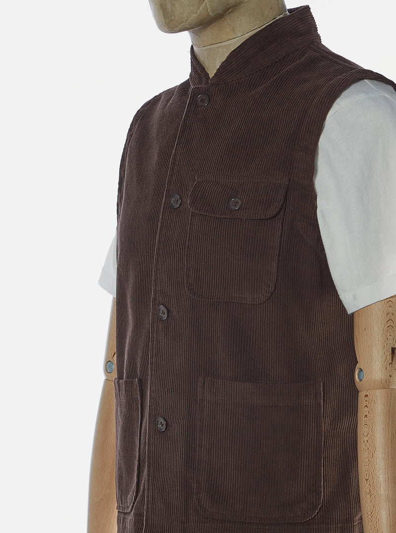 Universal Works Battleman Waistcoat in Chocolate Cord