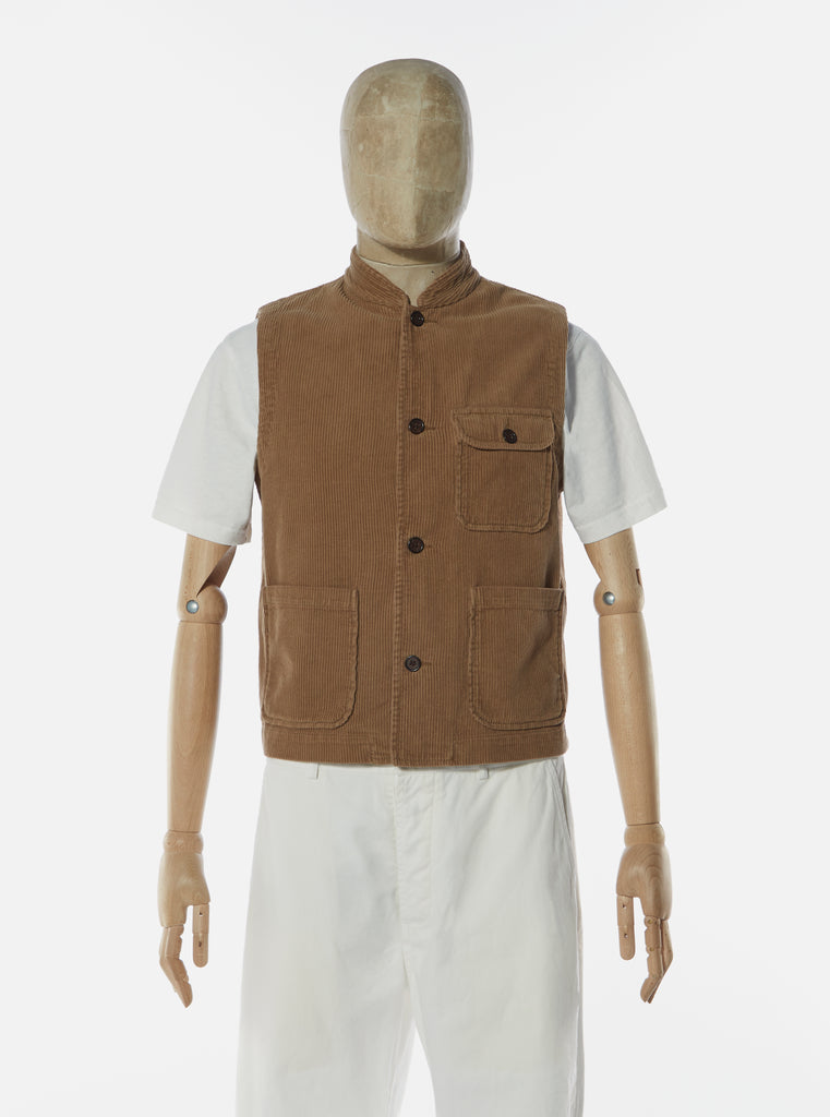 Universal Works Battleman Waistcoat in Taupe Cord