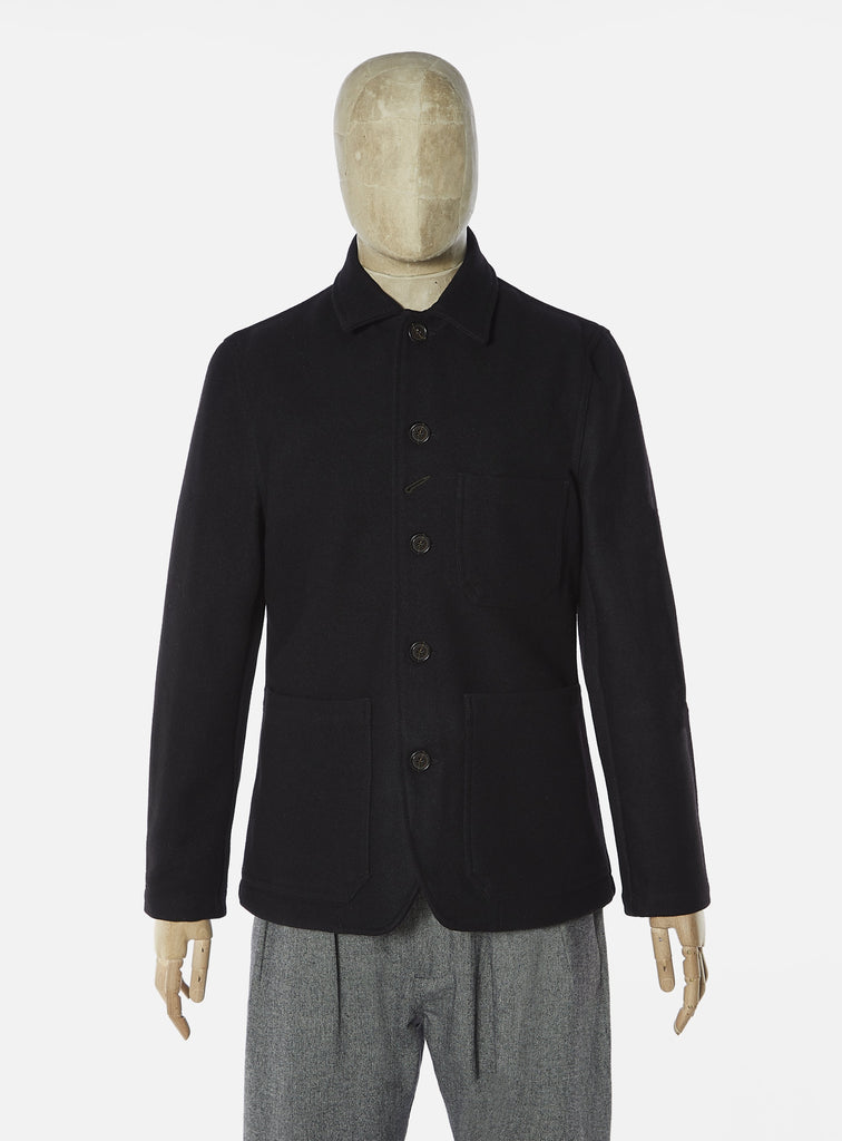 Universal Works Bakers Chore Jacket in Black Burel