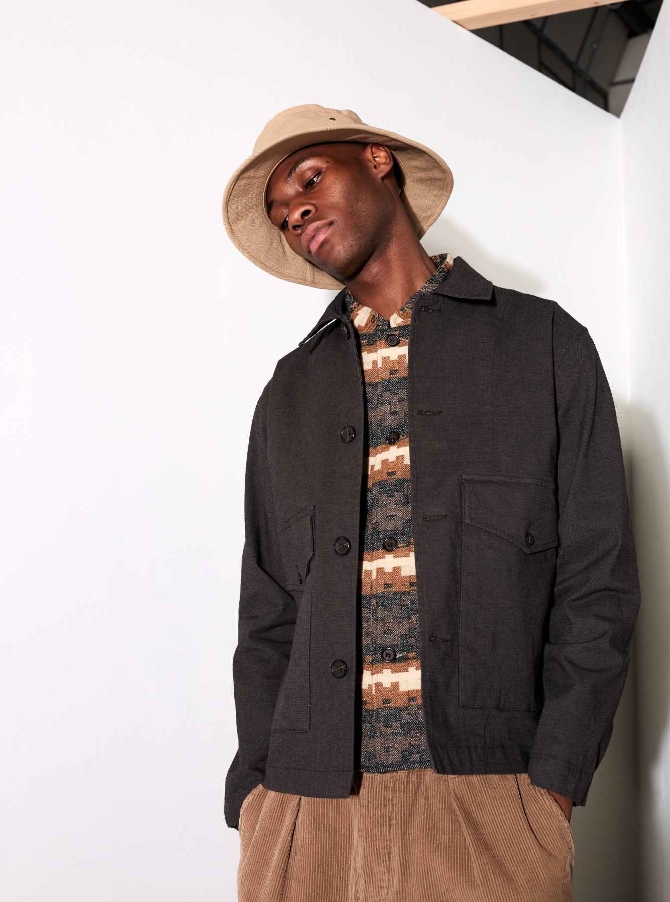 Universal Works Watchman II Jacket in Chocolate Tinto Cotton