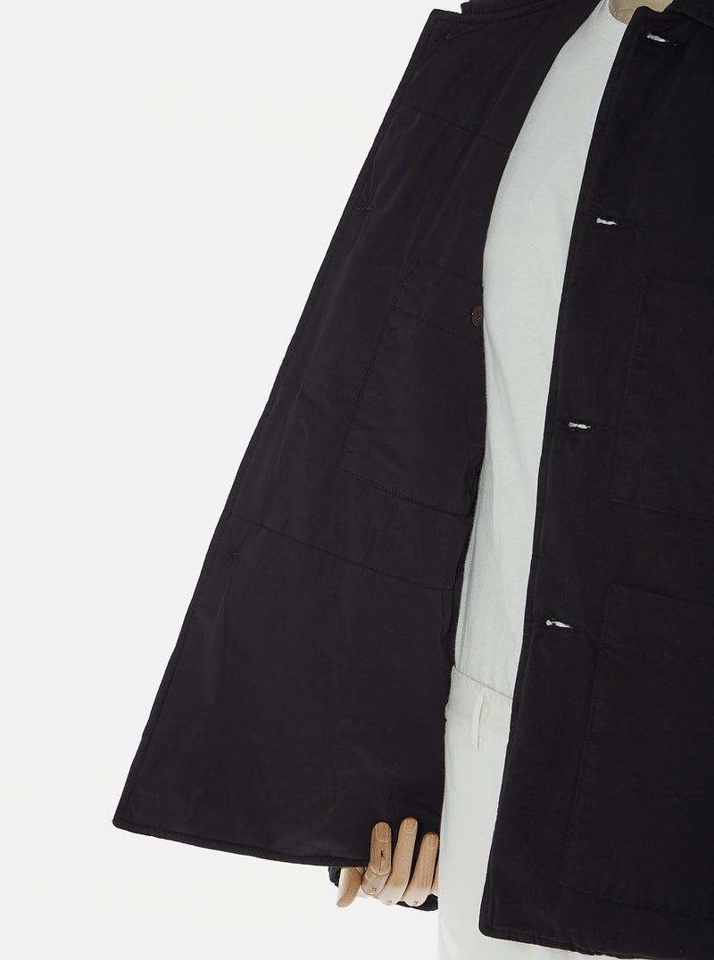 Universal Works Simple Bakers Jacket in Black Quilt Insulated Cotton