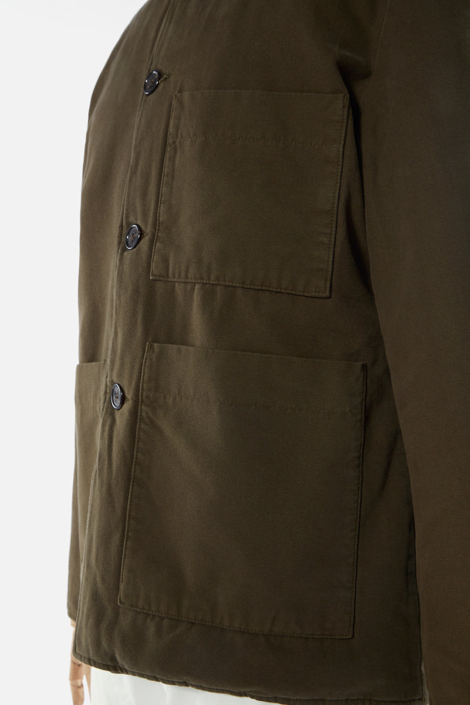 Universal Works Simple Bakers Jacket in Olive Quilt Insulated Cotton