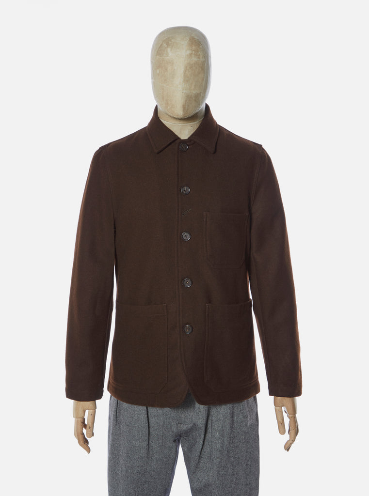 Universal Works Bakers Chore Jacket in Chocolate Melton