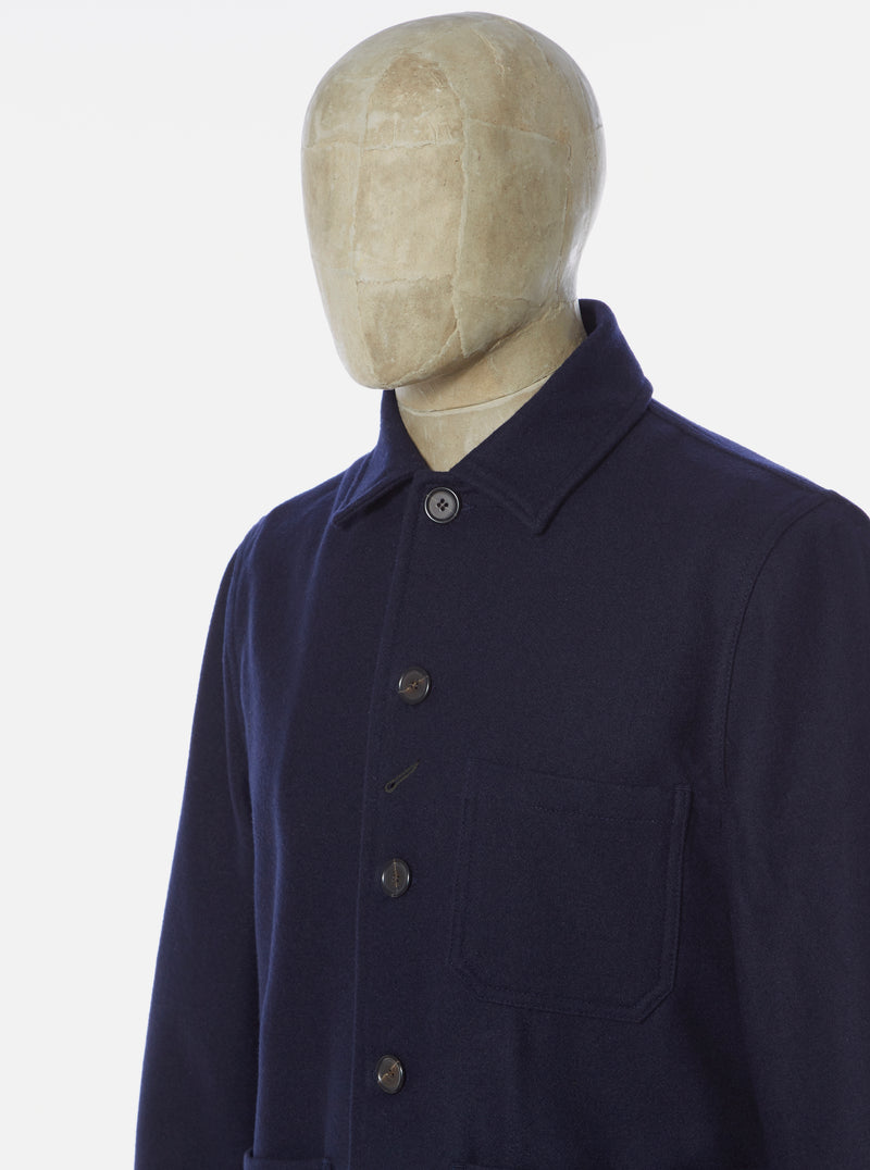 Universal Works Bakers Chore Jacket in Navy Melton