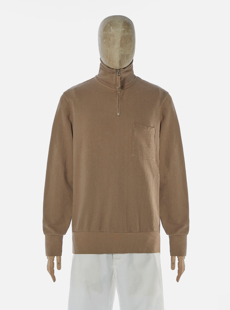 Universal Works Half Zip Sweatshirt in Dark Sand Dry Handle Loopback