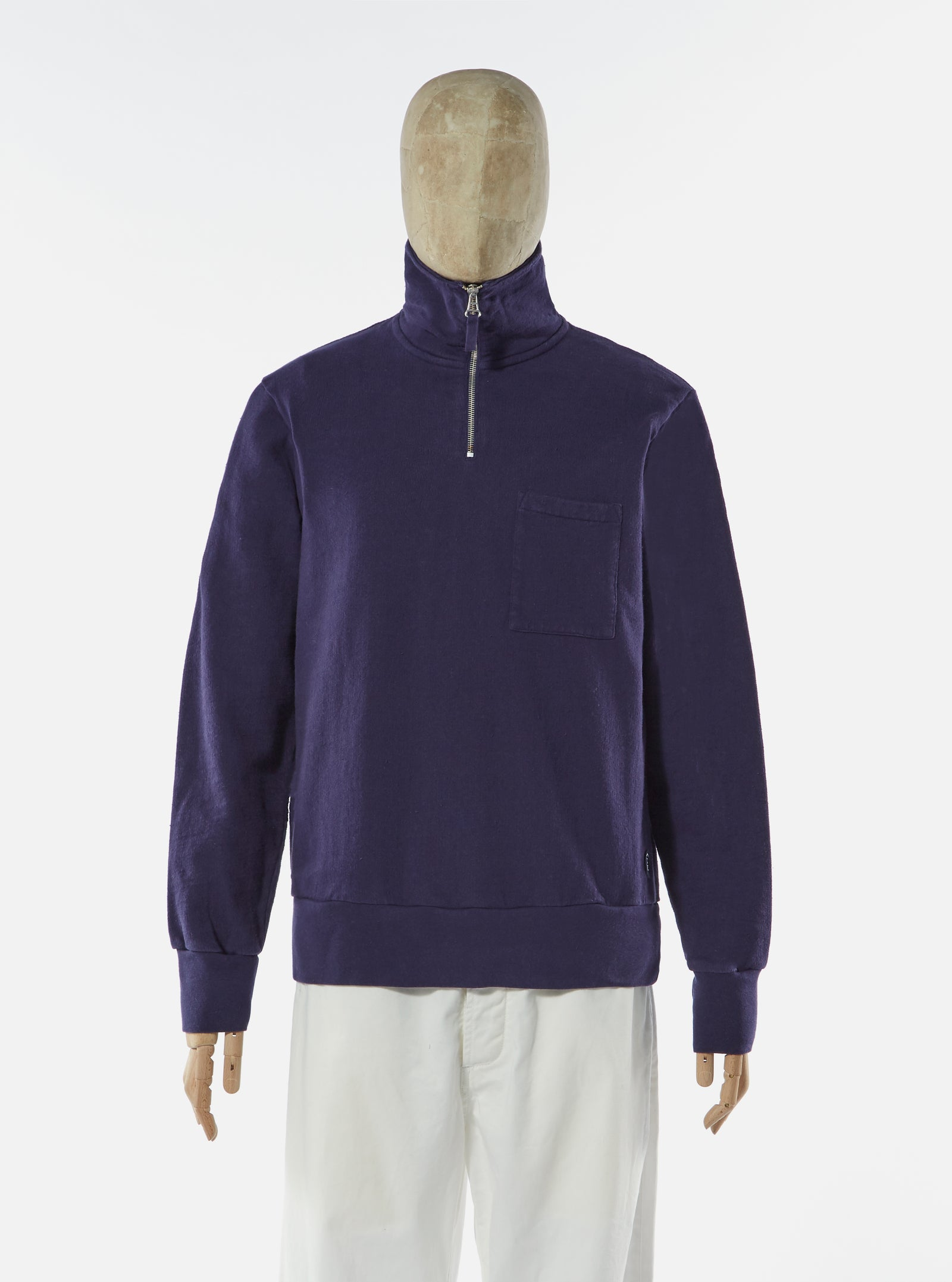 Universal Works Half Zip Sweatshirt in Navy Dry Handle Loopback