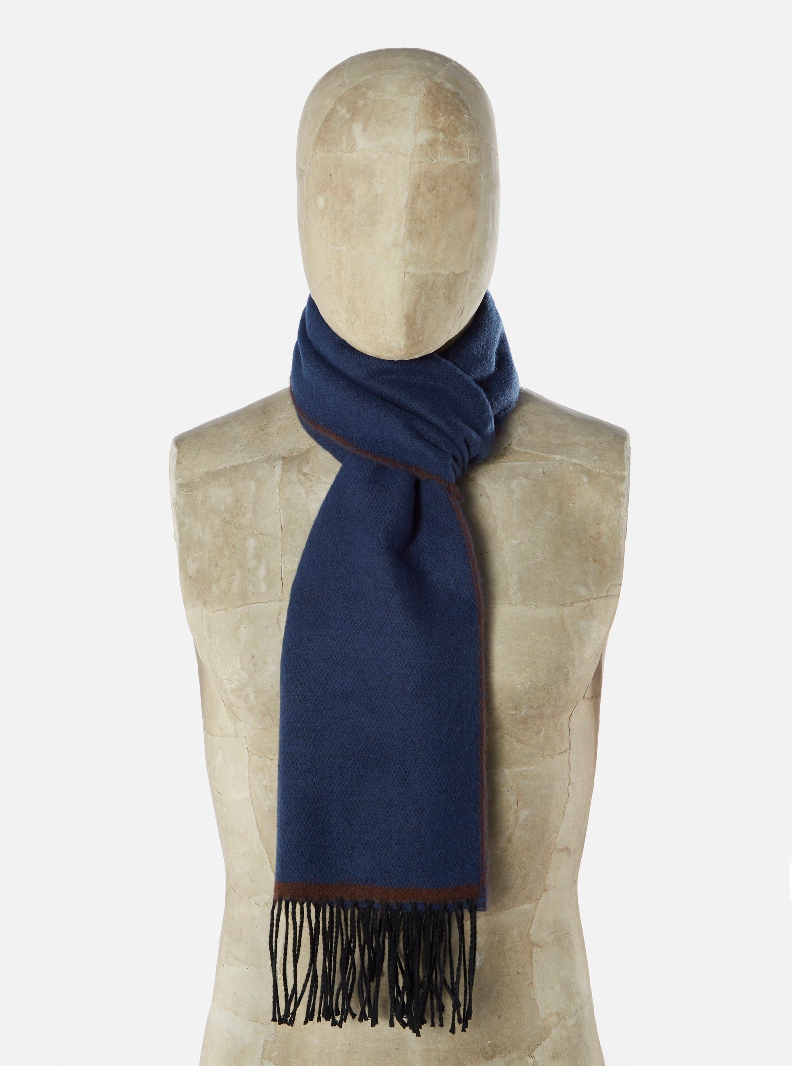 Universal Works Scarf in Blue/Chocolate Double Sided