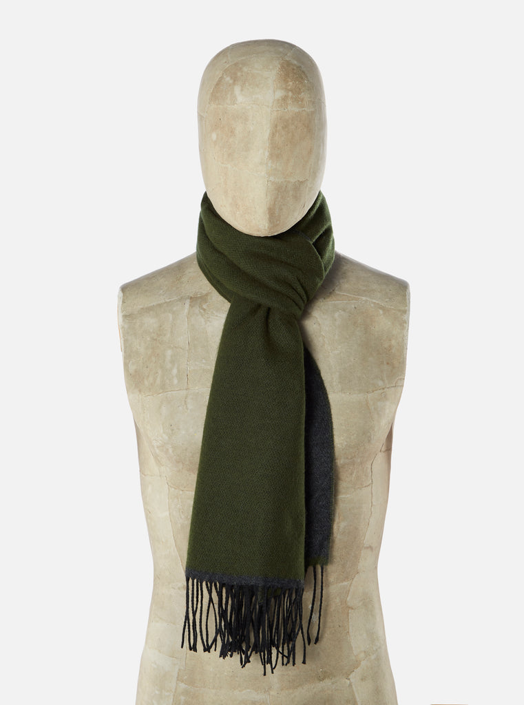Universal Works Scarf in Olive/Charcoal Double Sided