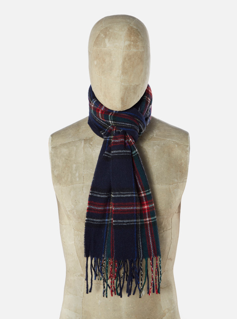 Universal Works Scarf in Navy Tartan Wool