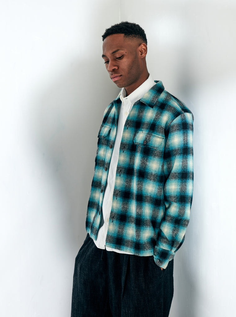Universal Works L/S Utility Shirt in Turq Check Texas Wool Plaid