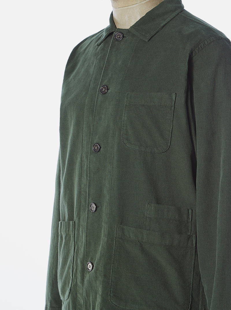 Universal Works Bakers Overshirt in Green Fine Cord
