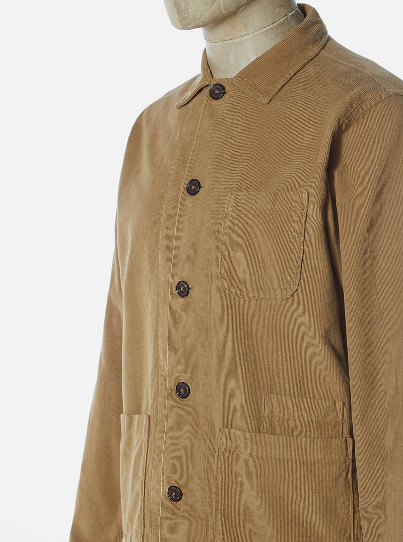 Universal Works Bakers Overshirt in Taupe Fine Cord