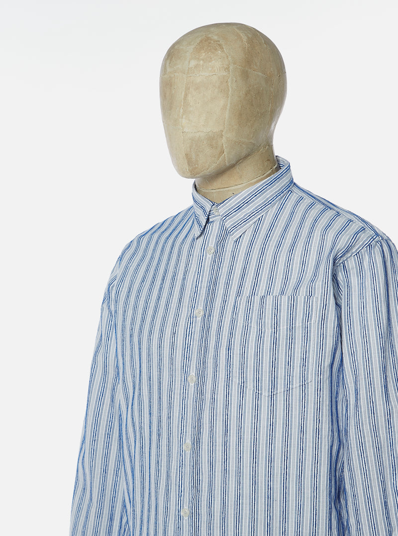Universal Works New Standard Shirt in Blue PJ Stripe Cotton