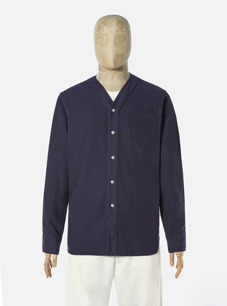 Universal Works V Neck Overshirt in Navy Recycled Brush Twill