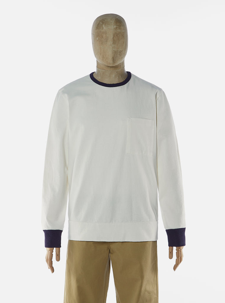 Universal Works College Loose Pullover in Ecru Single Jersey