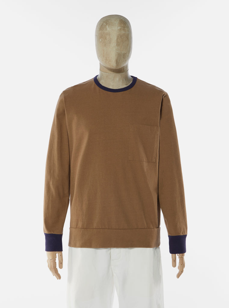 Universal Works College Loose Pullover in Dark Sand Single Jersey