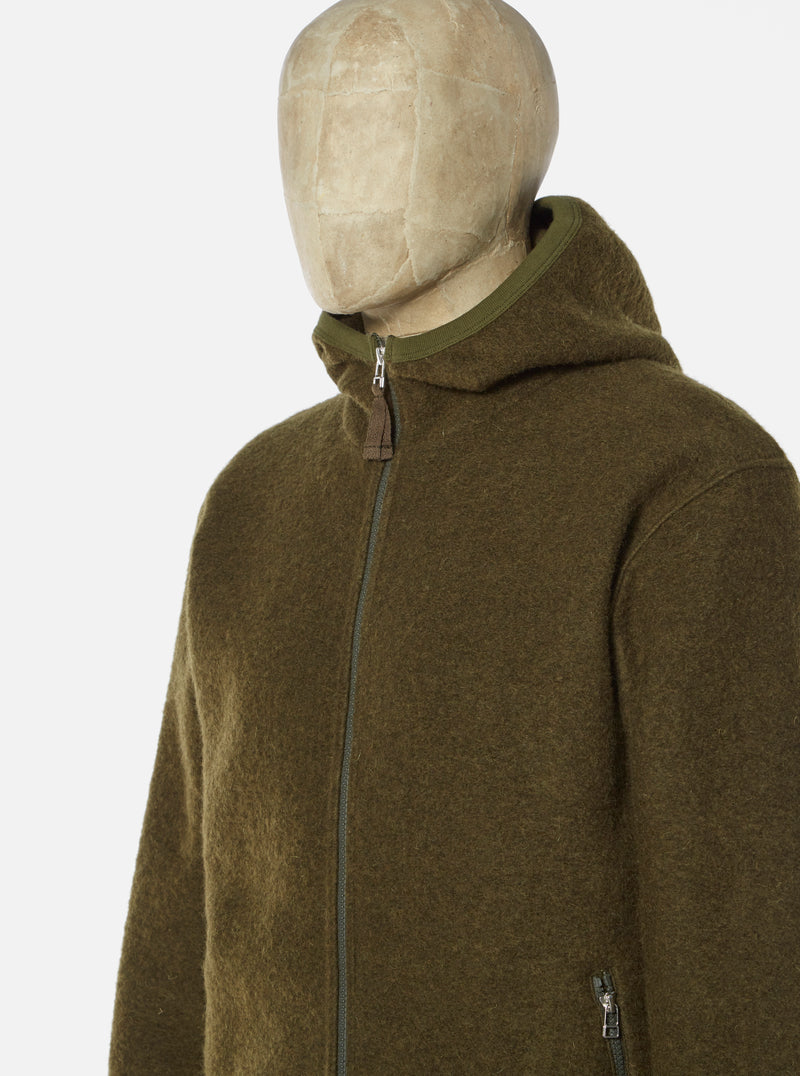 Universal Works Surfer Hoody in Olive Wool Fleece