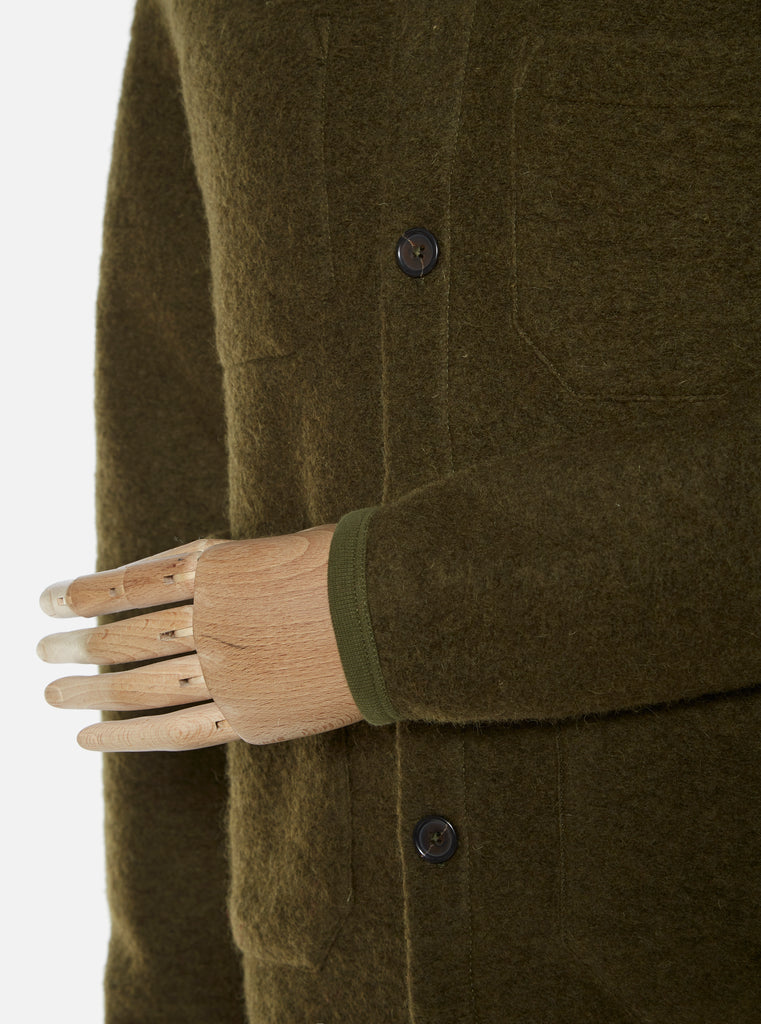 Universal Works Cardigan in Olive Wool Fleece