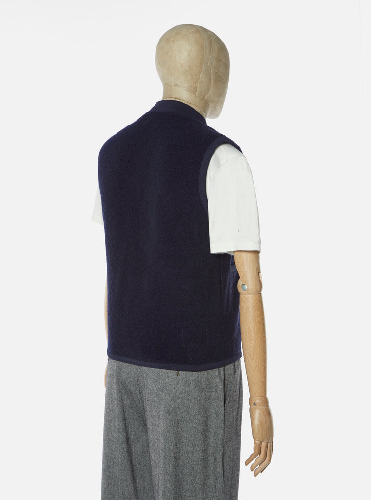 Universal Works Zip Waistcoat in Navy Wool Fleece