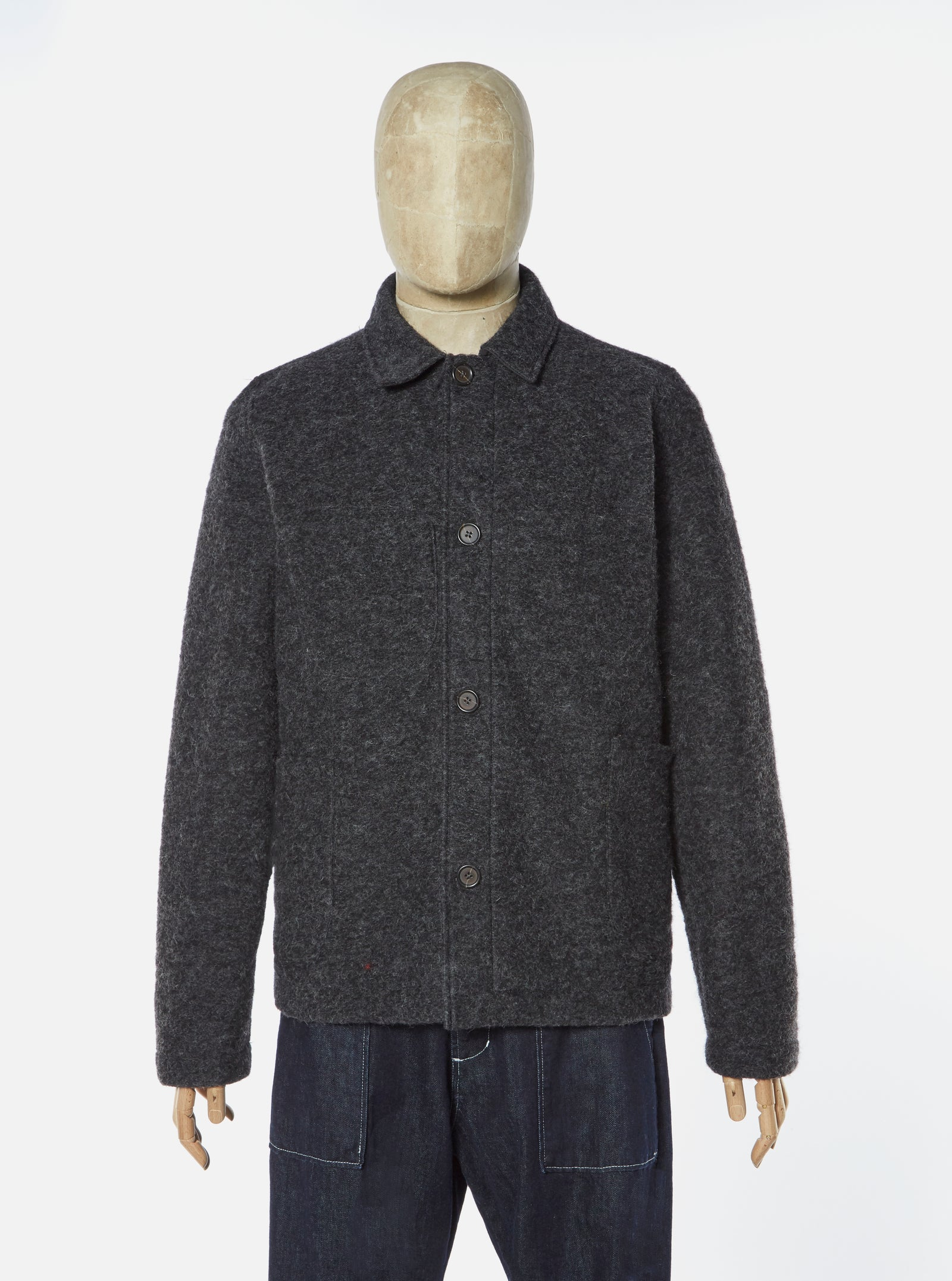 Universal Works Lumber Jacket in Charcoal Wool Fleece
