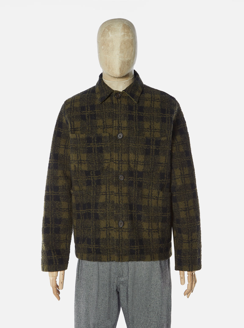 Universal Works Lumber Jacket in Olive Wool Sherpa Fleece