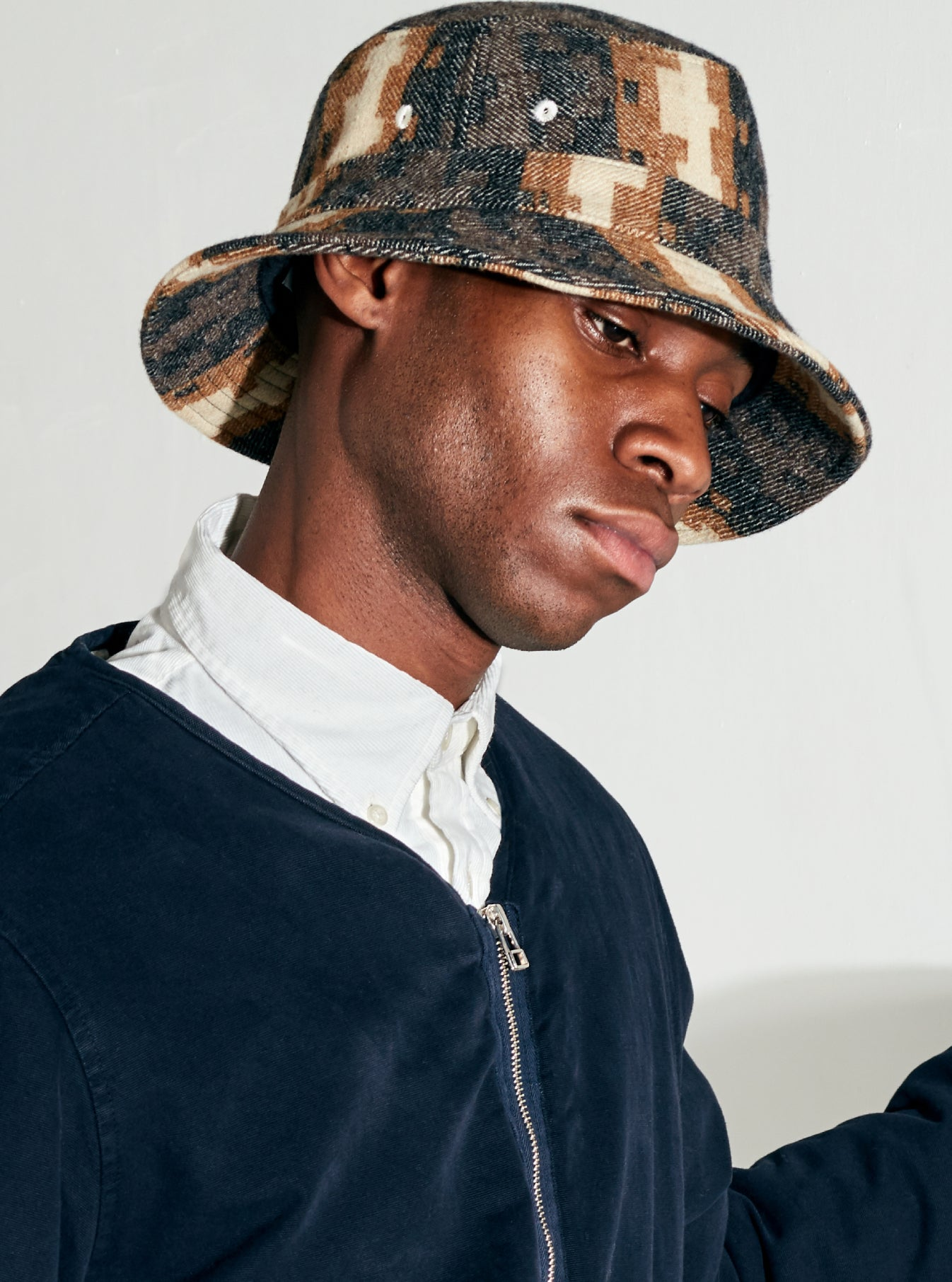 Universal Works Bucket Hat in Chocolate/Black Urban Mex Wool