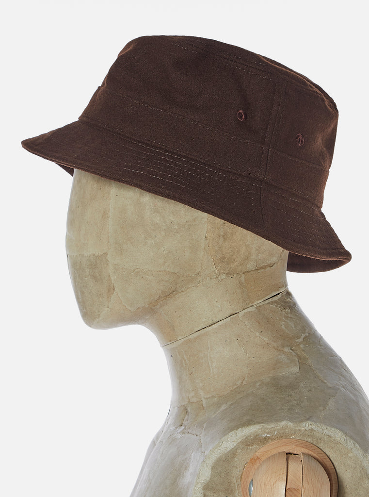 Universal Works Bucket Hat in Chocolate Melton