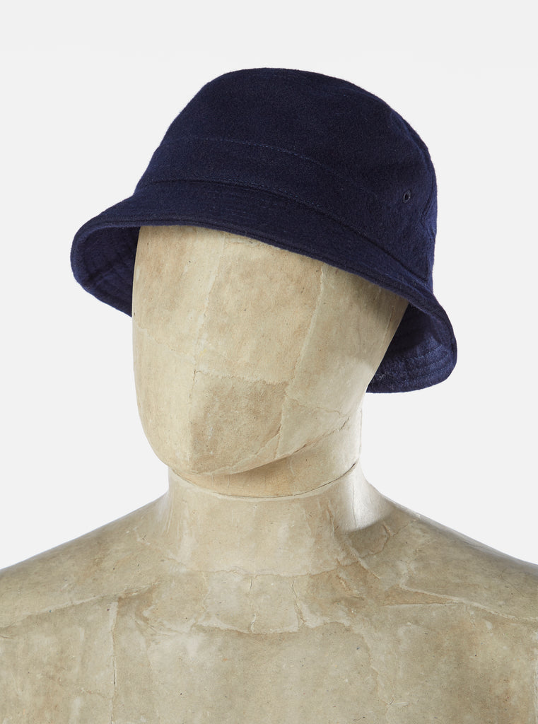 Universal Works Bucket Hat in Navy Melton
