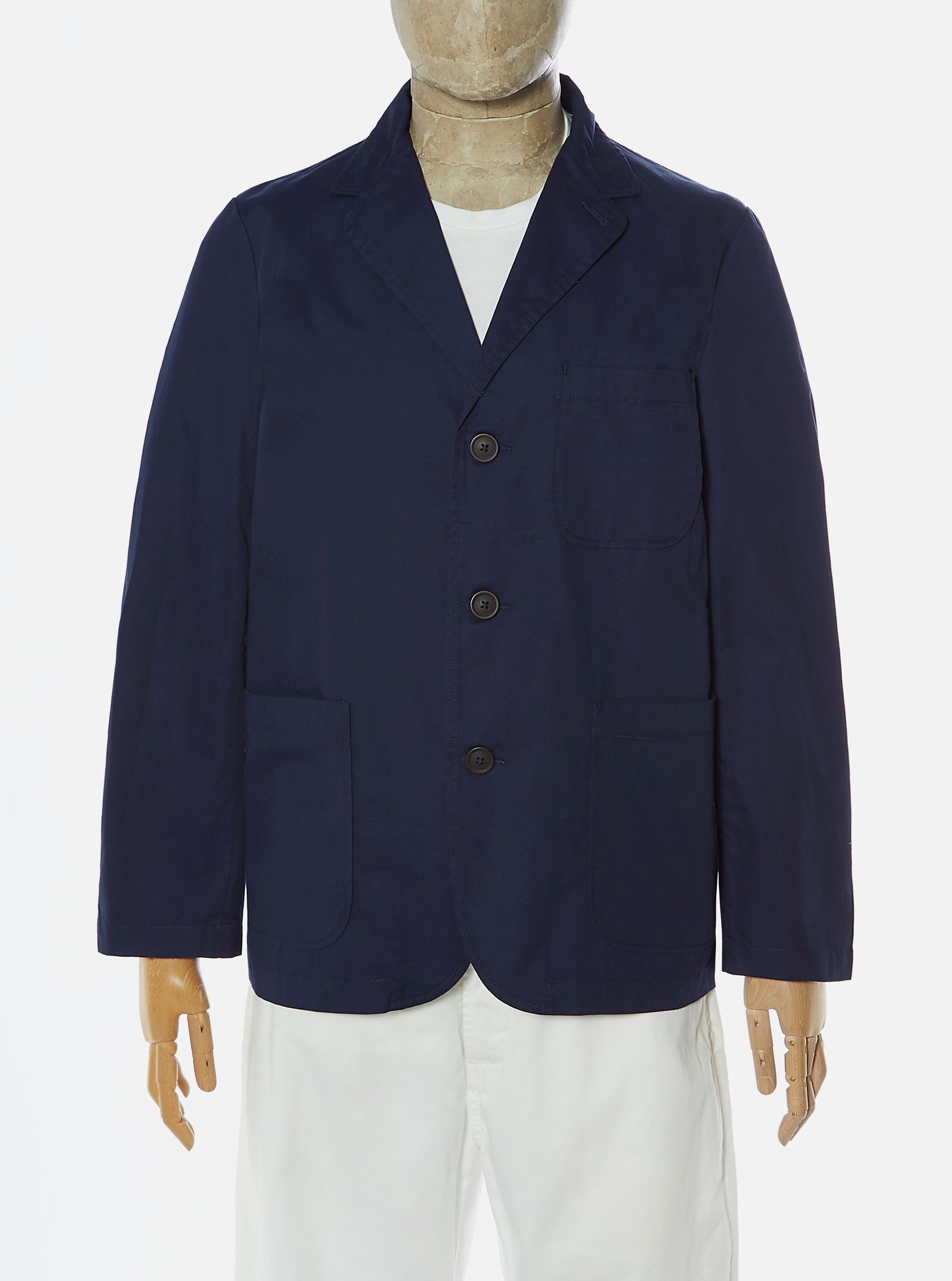 Universal Works Three Button Jacket in Navy Fine Twill