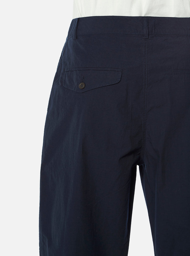 Universal Works Pleated Pant in Navy Ripstop Cotton