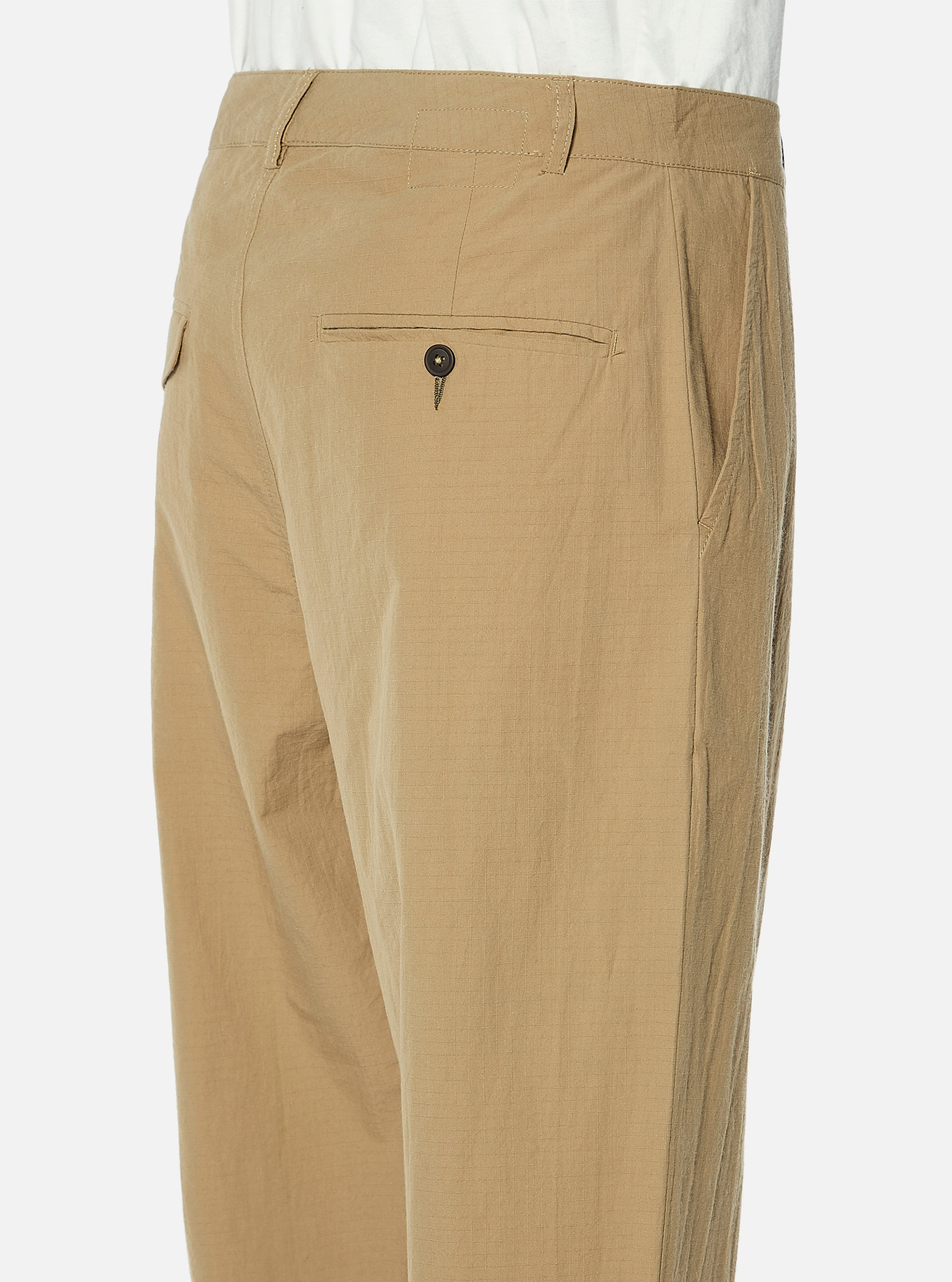 Universal Works Pleated Pant in Sand Ripstop Cotton