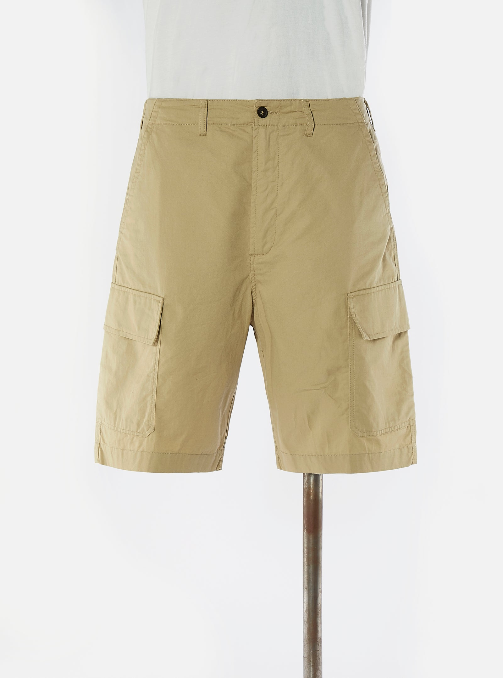 Universal Works MW Cargo Short in Tan Fine Twill