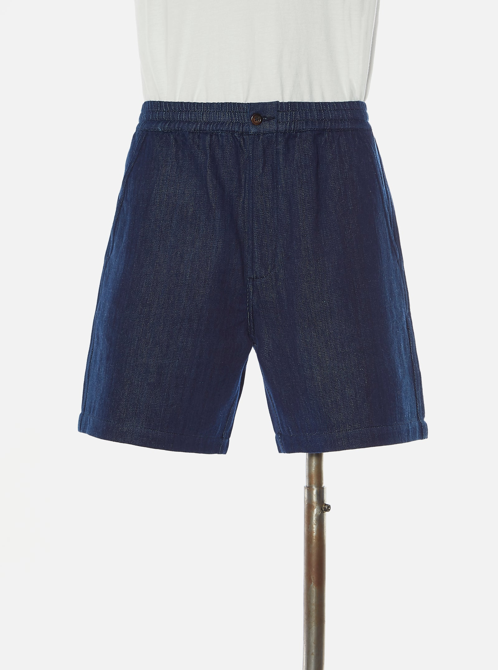 Universal Works Track Short in Indigo Handloom Denim