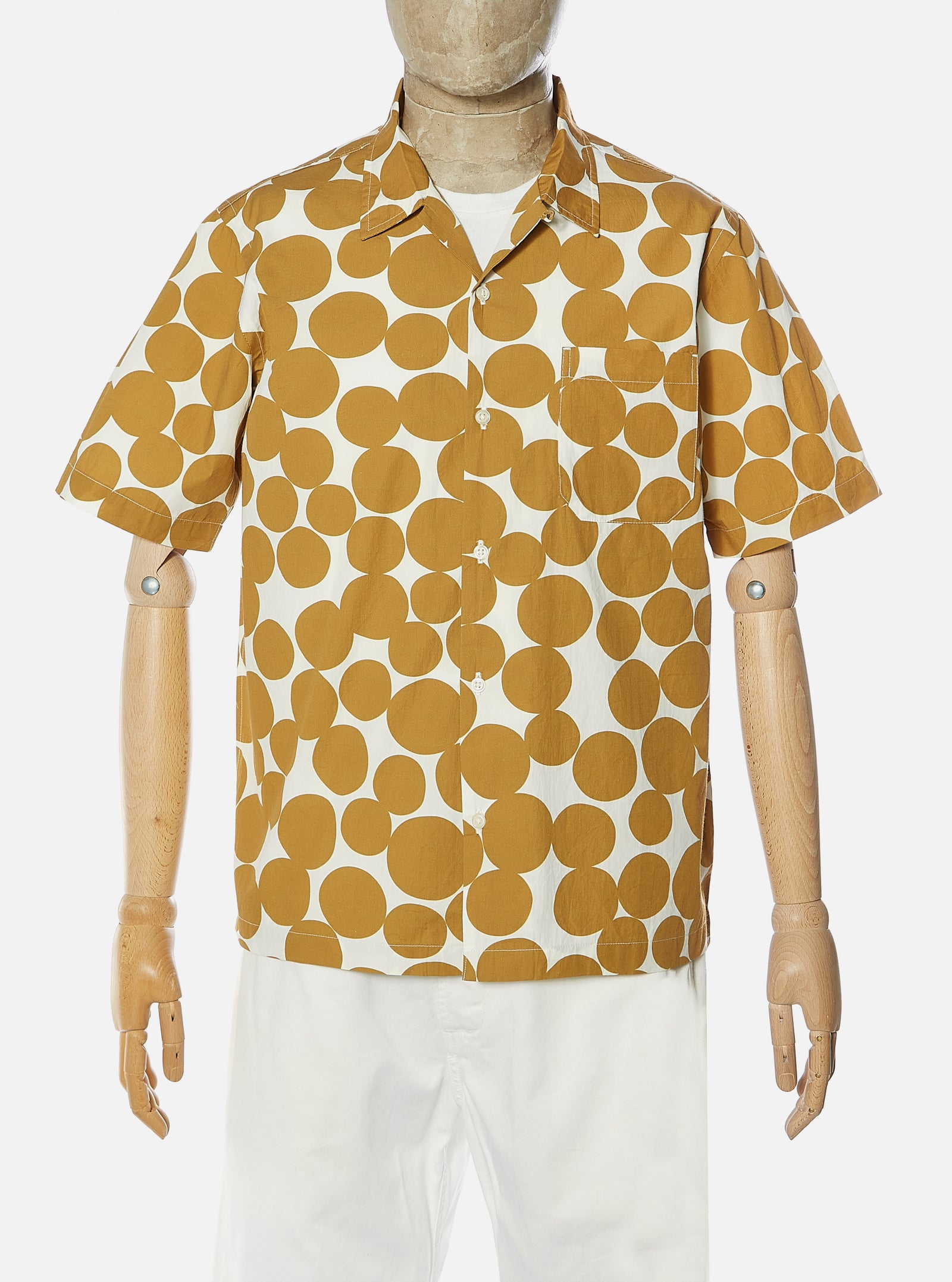 Universal Works Road Shirt in Gold Dot Print Poplin