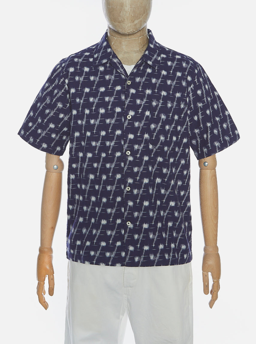 Universal Works Road Shirt in Indigo Handloom Ikat
