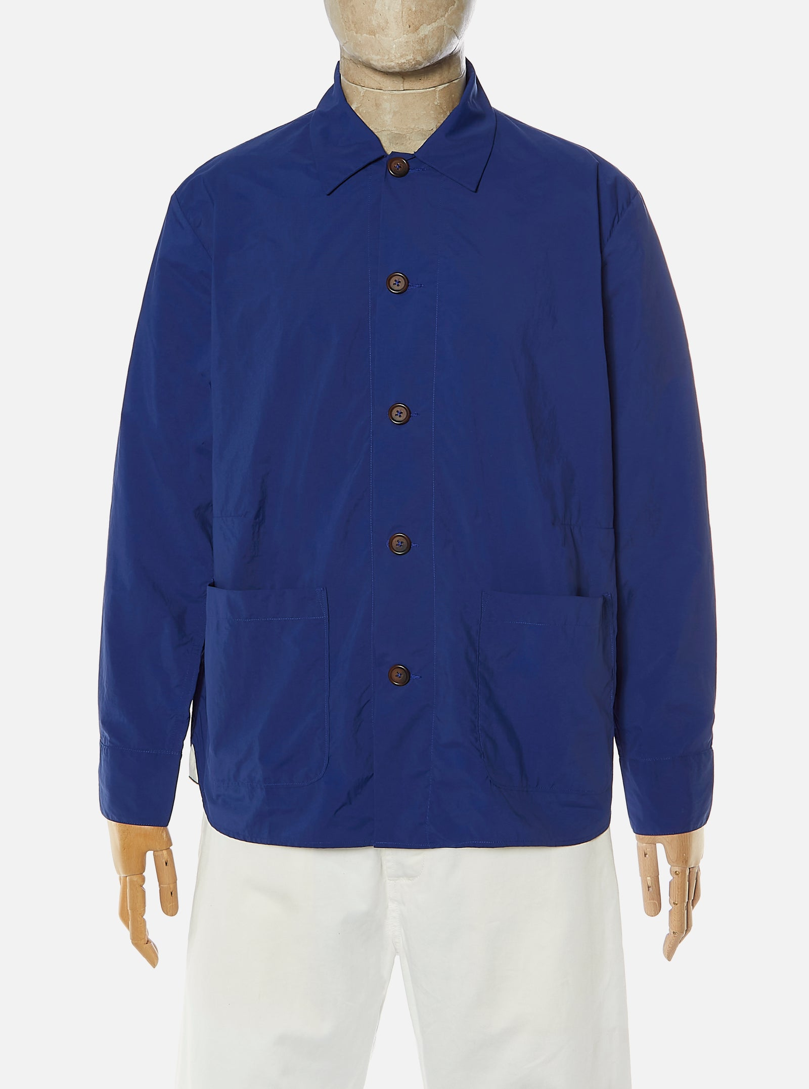 Universal Works Travail Shirt in Blue Recycled Nylon