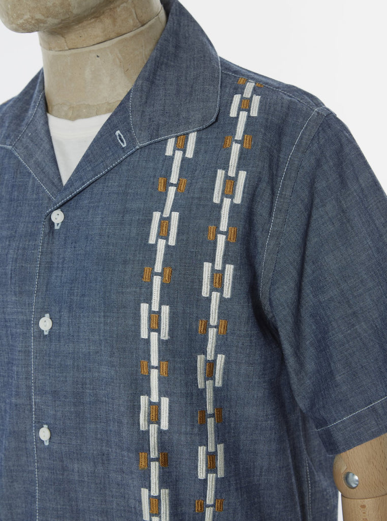 Universal Works Open Collar Shirt in Indigo Chambray