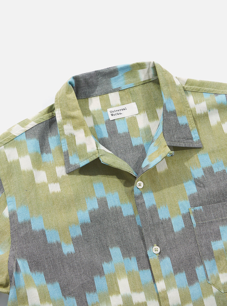 Universal Works Road Shirt in Green Zigzag Handloom Ikat