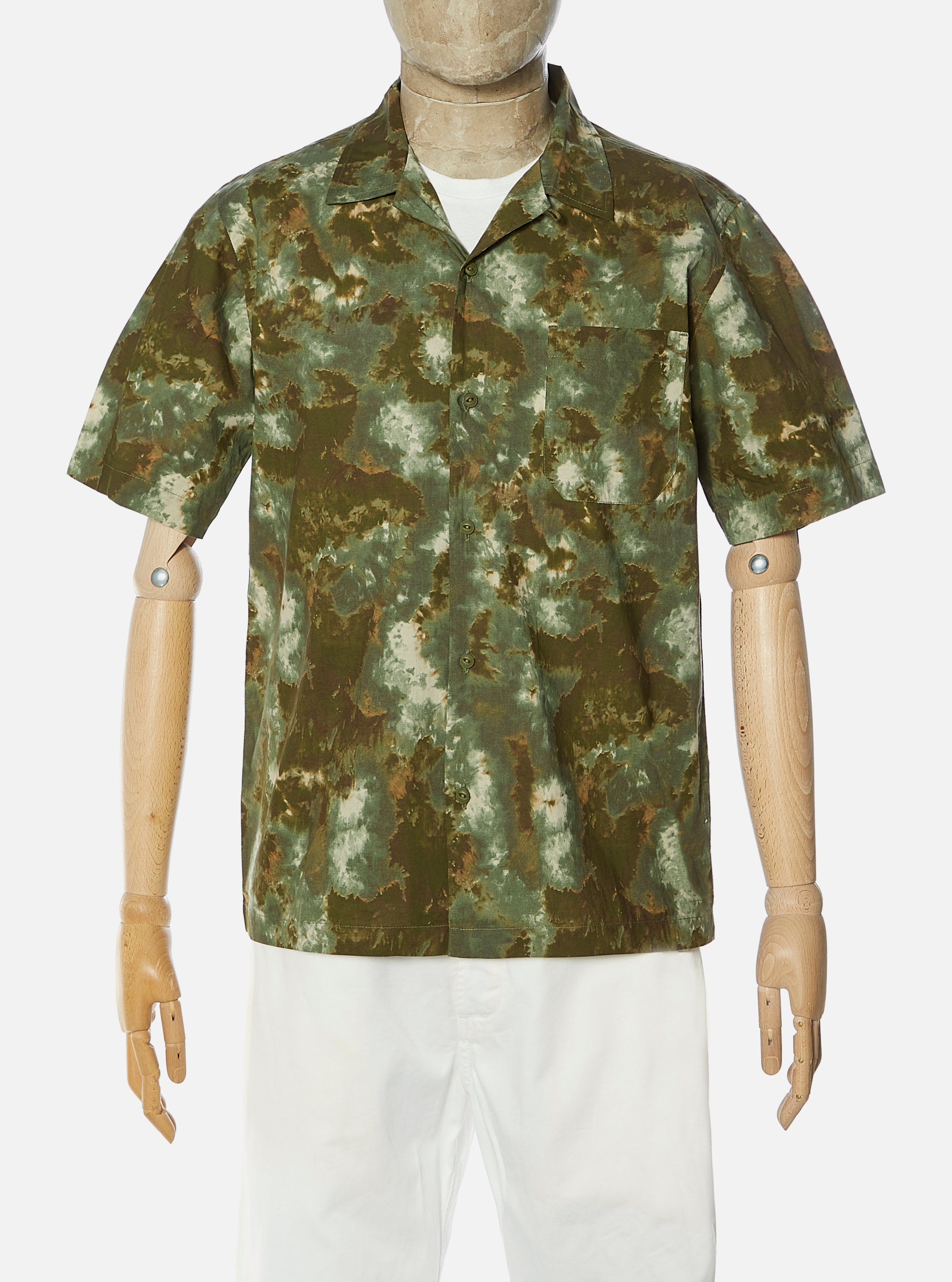 Universal Works Road Shirt in Olive Space Camo