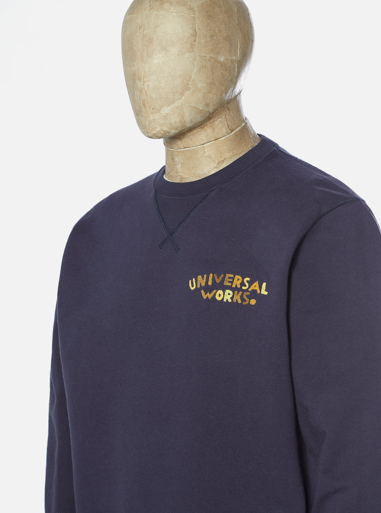 Universal Works Embroidered Sweatshirt in Navy Loopback