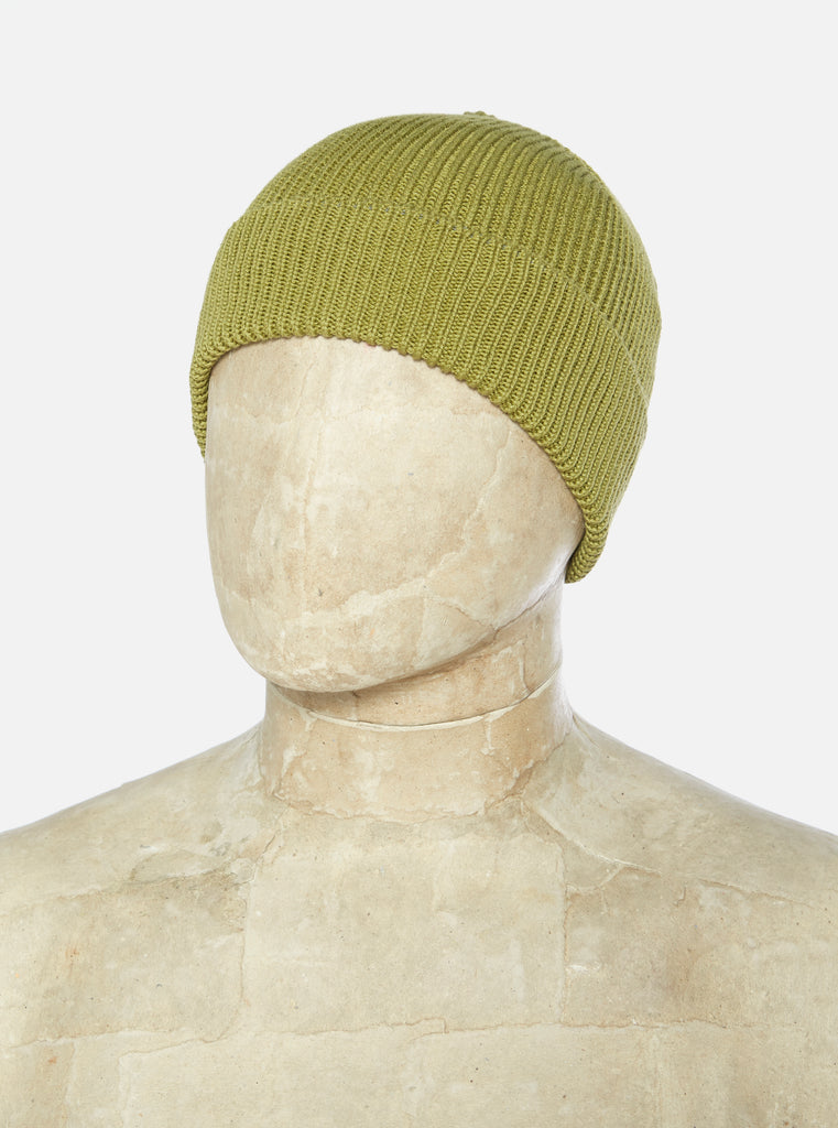 Universal Works Watch Cap in Light Olive Cotton