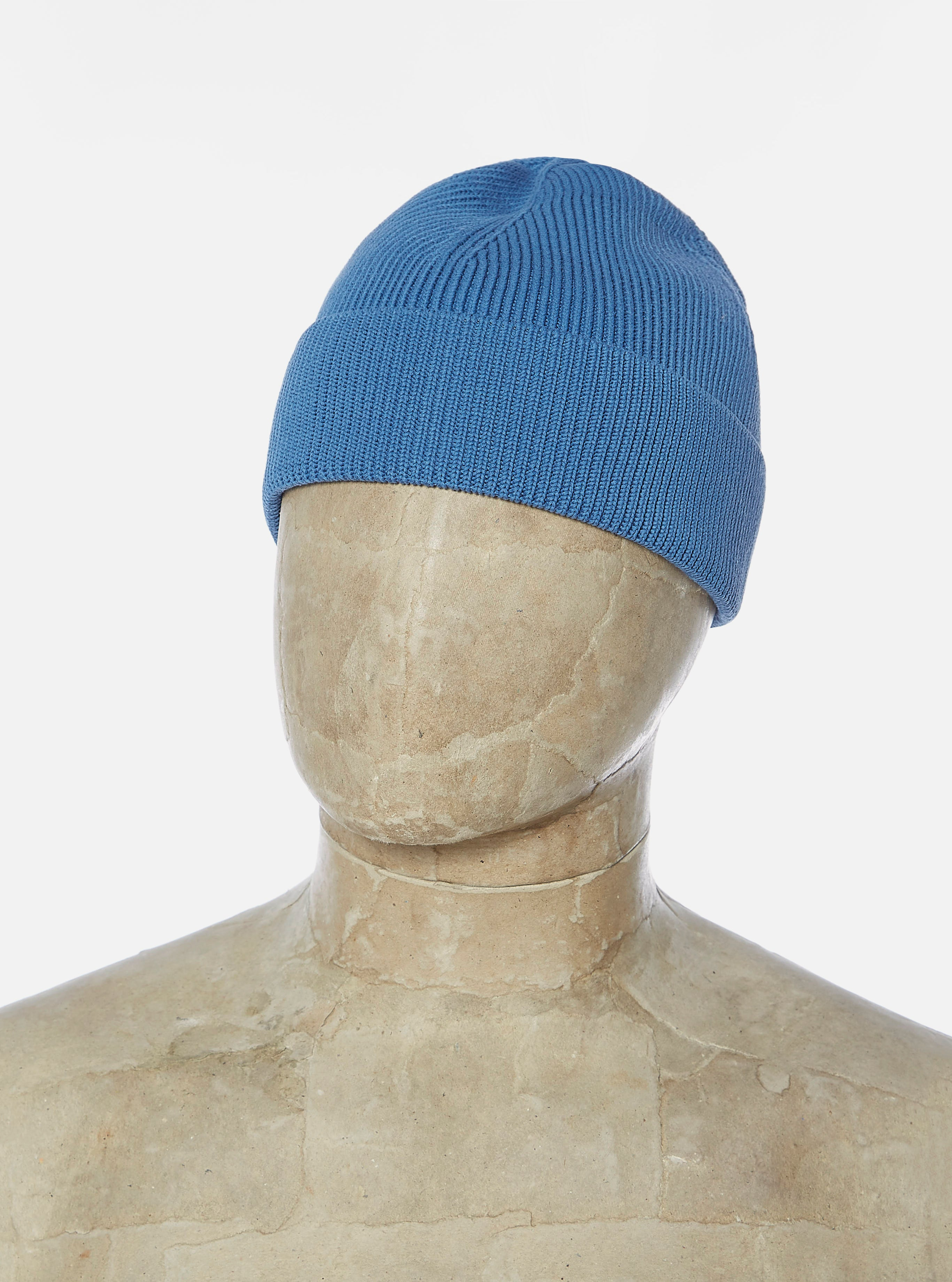 Universal Works Watch Cap in Blue Cotton Rib