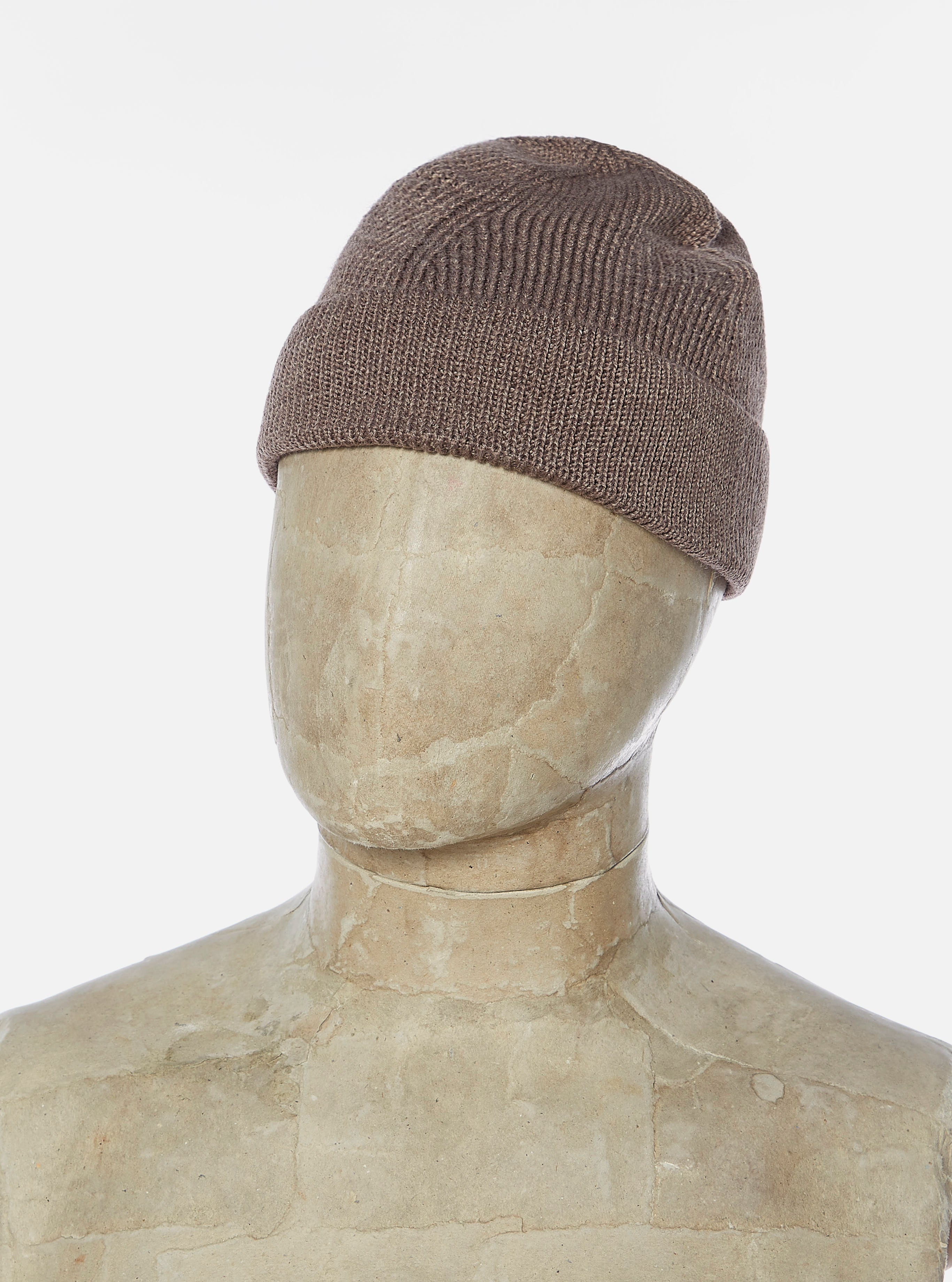 Universal Works Watch Cap in Brown Marl Merino Rib