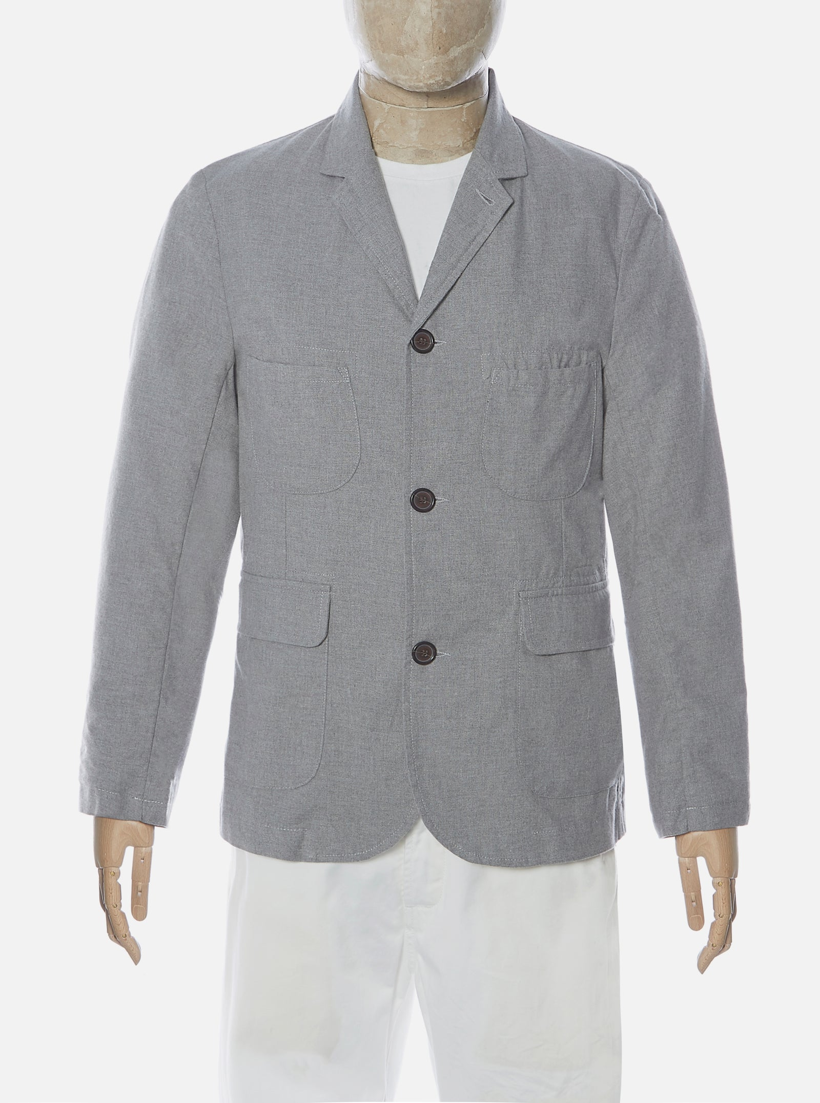 Universal Works Barra Jacket in Grey Cotton Suiting II