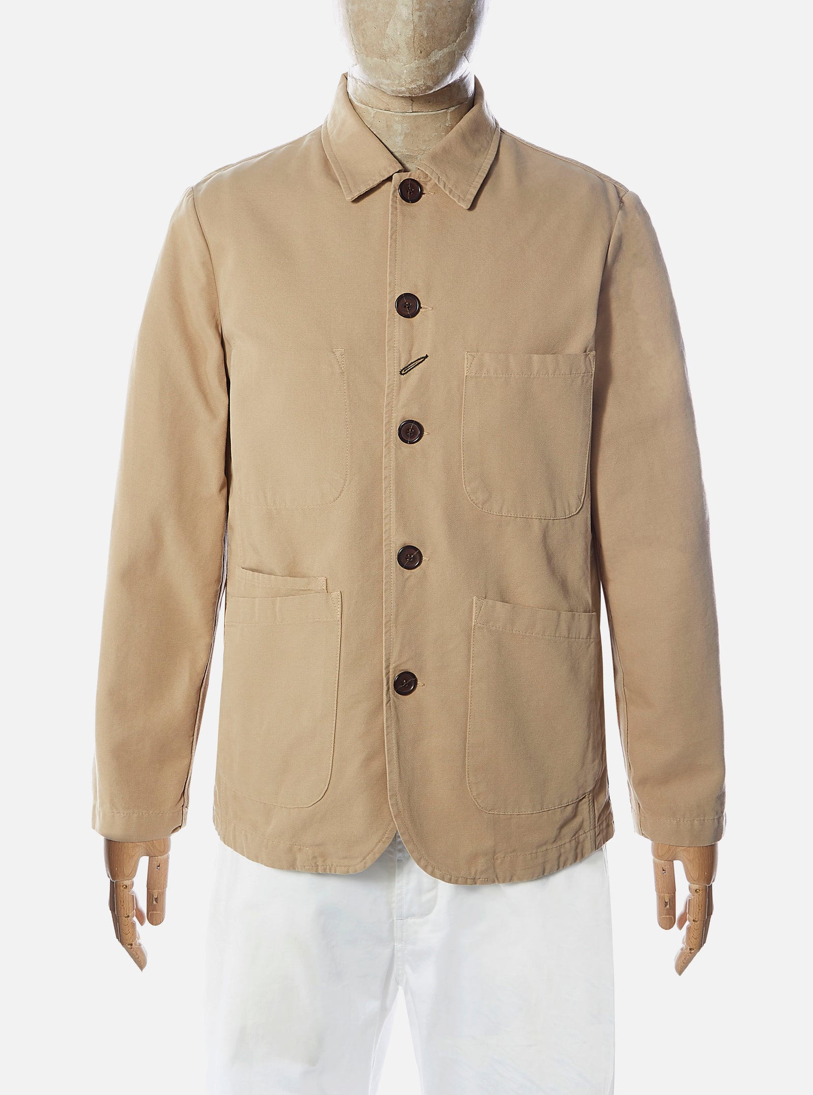 Universal Works Bakers Jacket in Sand Canvas