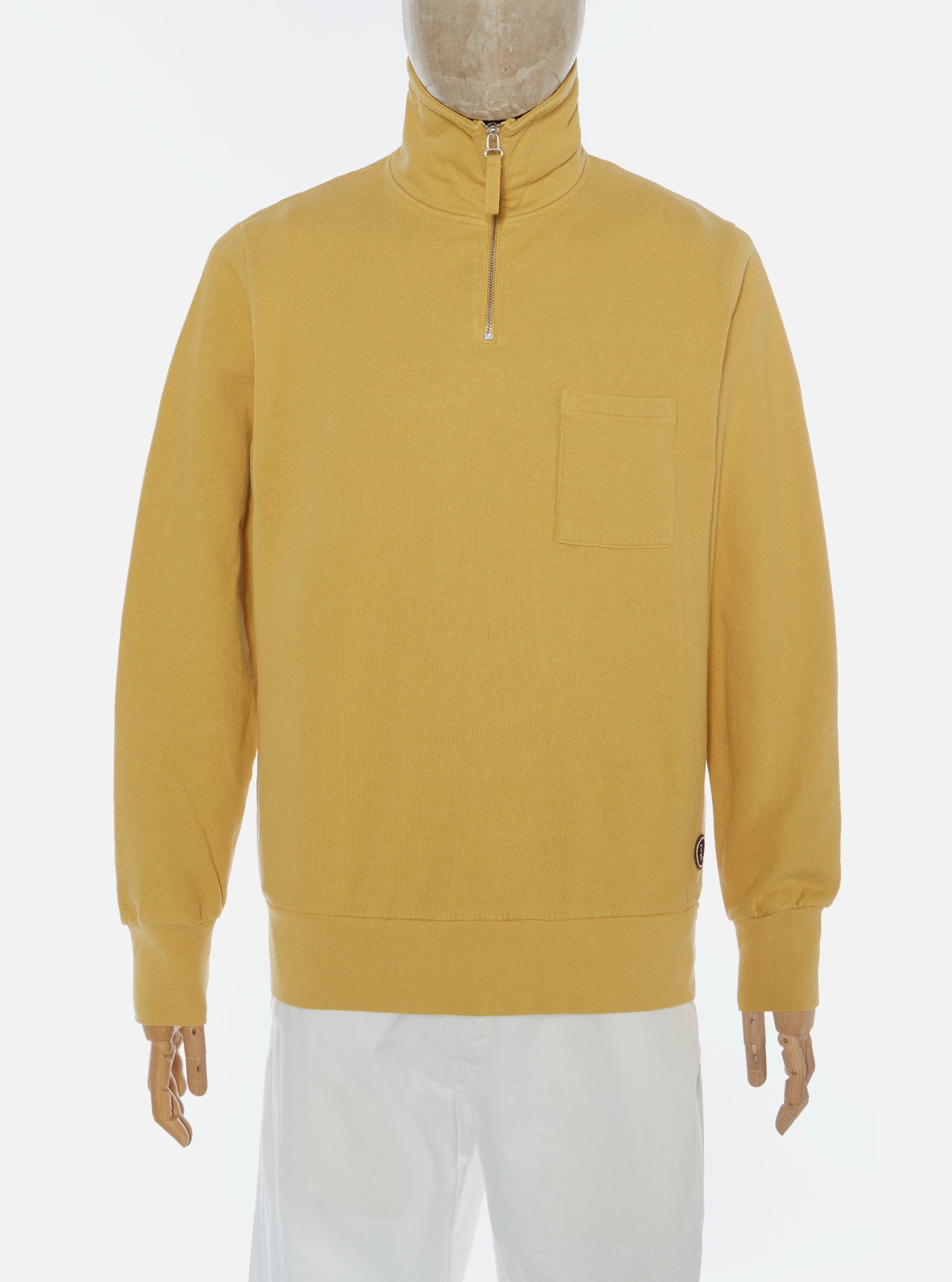 Universal Works Half Zip Sweatshirt in Gold Dry Handle Loopback