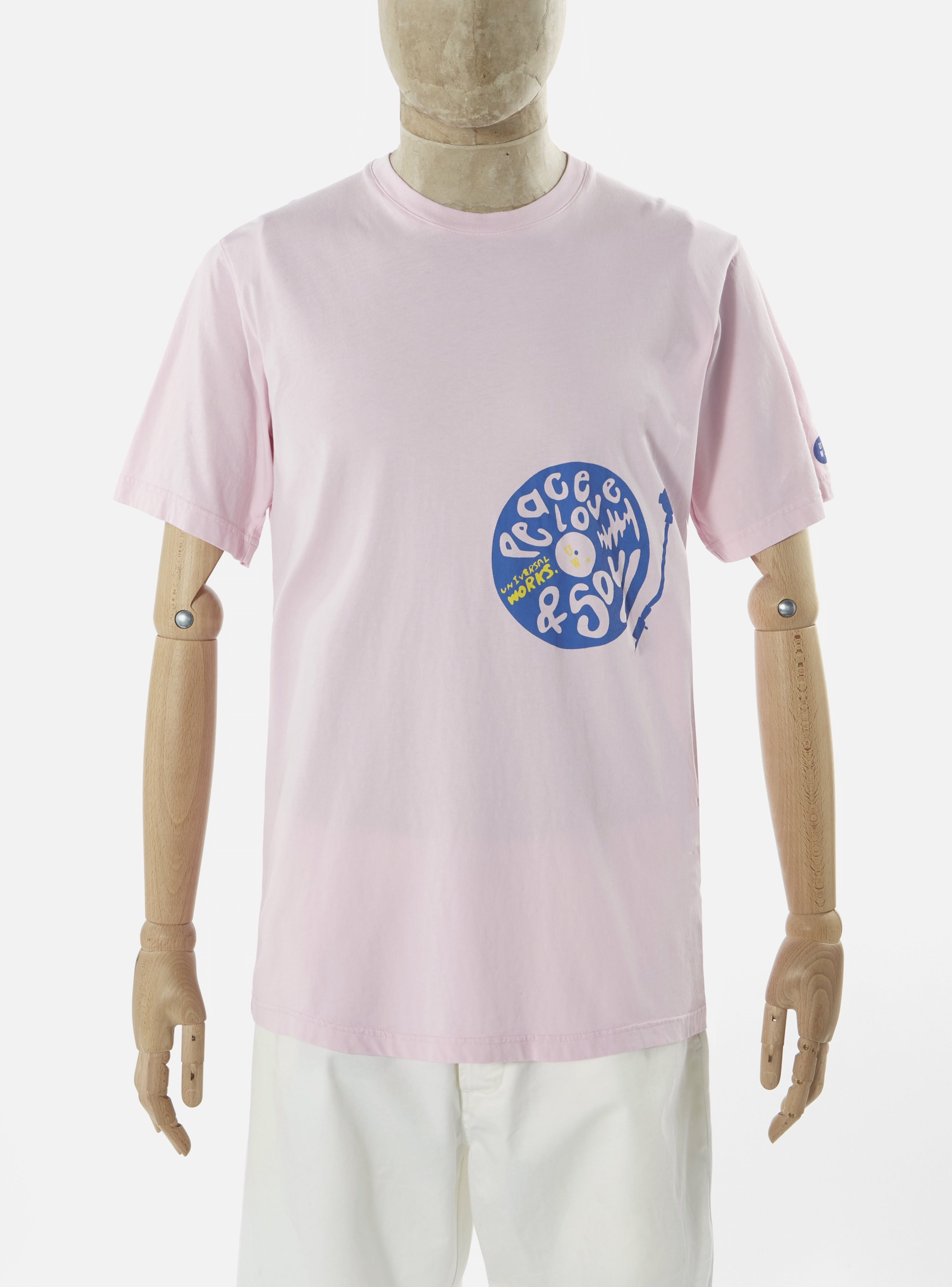 Universal Works Print Tee in Pink Organic 'Peace, Love and Soul' Jersey