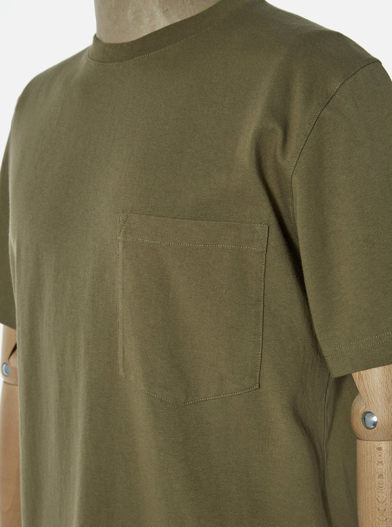 Universal Works Big Pocket Tee in Bright Olive Save That Jersey