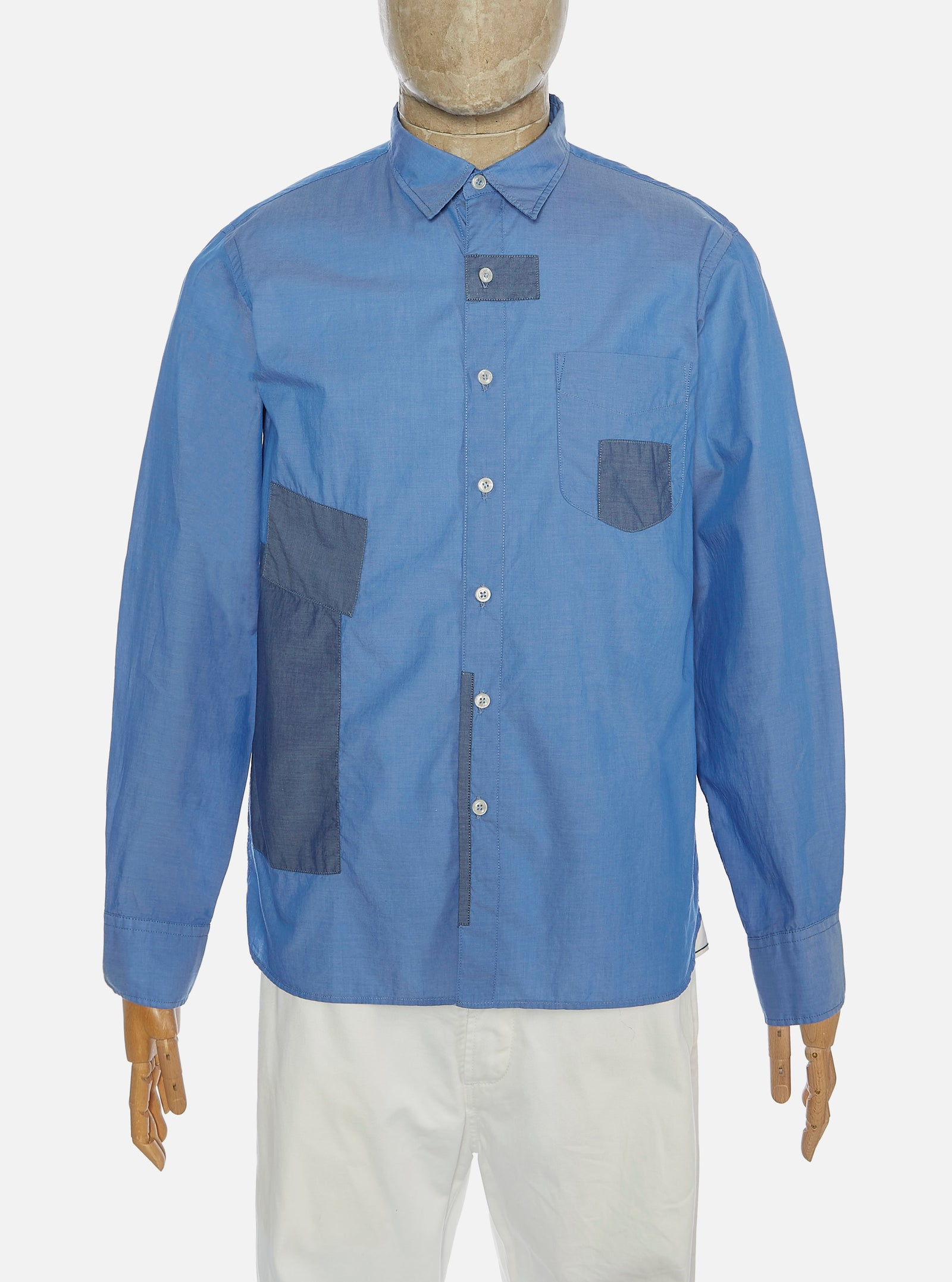 Universal Works Patched Shirt in Mixed Indigo Fine Chambray